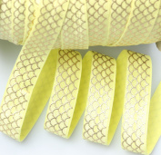 TopHunter 1.6cm 10 Yds Fold Over ElASTIC Strips Stretch FOE Ribbon For Hair Tie Hair Band Headband Accessories,Pinapple