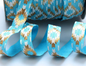 Top Hunter 1.6cm 10 Yds Soft Fold Over Elastic Strips Gold Printed Stretch Ribbon FOE For Hair Tie Hair Band Headband Accessories,Turquoise