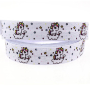 Midi Ribbon Unicorn Single Face Printed Stretch Foldover Elastic 1.6cm X 50 Yards/Roll For Ponytail Holder Headband Hair Tie Scrapbooking - Design 2