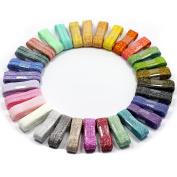 MorningRising Glitter Metallic Fold Over Elastic Stretch FOE Elastics For Hair Tie - 32 Yards - 1.6cm Wide - 1 Yard Each Solid Colour - Variety Colour Headband Elastic Pack