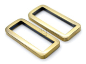 CRAFTMEmore 4 PCS Flat Rectangle Rings Buckle For Bag Belt Strap Webbing Heavy Duty Loop Quality Finish (1 1/2 Inches (38 mm), Brushed Gold