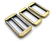 CRAFTMEmore 3.8cm 1PC Antique Brass Slide Buckle Adjuster with 2PCS Rectangle Rings Purse Loop Metal Craft Accessories