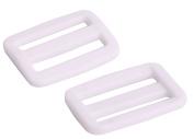 Shapenty 2.5cm Plastic Tri-glide Slides Button Adjustable Webbing Triglides Slider Buckle for Belt Backpack and Bags, White, 20Pack