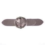 Mibo Sew On Faux Leather Tab Closure Textured Metallic Silver Tab with Round Nickel Buckle