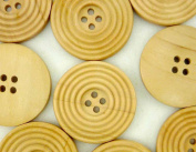 bangdan Circle Pattern Round Buttons Sewing Coat 30MM 4 Holes, 20pcs Brown Wood