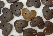 bangdan Coconut Buttons Lot Heart Shape Craft/Kids Sewing Cards DIY, 50pcs 15mmx15mm Brown