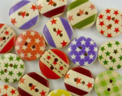 bangdan Polka Dots Stars Round Buttons Lots Craft Embellish Cards, 50pcs 15MM mixed Wooden