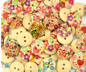 bangdan Flower Round Wooden Button Lot Craft Embellish Cards Scrapbook, 100pcs 18mm Mixed wood
