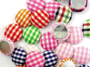 bangdan Mixed Grids Round Cloth Button/Flatback Lot Craft Embellish DIY, 15mm 20pcs mixed