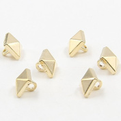 Small Gold Peaked Rivets Metal Shank Buttons for Fashion Shirts Cardgians(Gold,Pack of 10)