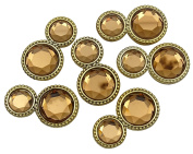 Round Shape Button Embellishment DIY Sewing Accessory Set Of 6 Pieces