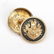 Retro British Lion Crown Metal Shank Buttons for Fashion Shirts Suits Sweaters Coats(Gold black/Silver black, Pack of 6)