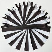 Chenkou Craft 24PCS White & Black Invisible Zippers Zipper Pillow Garment Dress Clothes Cushion Full Length 20cm