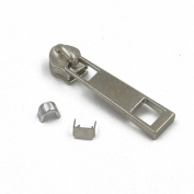 20 PCS #5 Moulded Nickel Zipper Slider Pull Stoppers Bottom Metal Replace Kit Stop ZP34