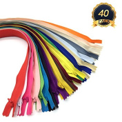 OTRMAX 40cm Nylon Invisible Zippers/Conceal Zippers/Sewing Zippers Garment Sewing Accessories, Set of 40pcs
