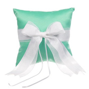 Remedios Ribbon Bowknot Variety Colours Satin Wedding Ring Pillow, Green