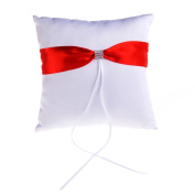 Remedios White Satin With Red Bow Rhinestone Bearer Pillow Wedding Ring Pillow