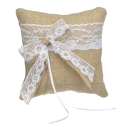 Remedios Burlap Lace Bow Wedding Ring Bearer Pillow