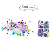 Shindel Mixed Colours Pearl Head Pins Straight Pins for Sewing Craft Decoration 400 Piece,4 Pack
