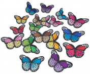 C-Pioneer 10PCS DIY Embroidery Colourful Butterfly Sew Iron On Patch Badge Embroidered Fabric Applique Decor