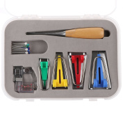 ONEVER 16pcs Bias Tape Maker Kit with Awl and Binder Foot for Sewing Quilting Binding, 6mm/12mm/18mm/25mm