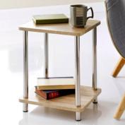 Svar 2 Tier Shelf Unit Stainless Steel Legs Side Table Oak effect living bedroom