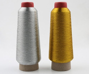 YEHAM 2 Pack Gold & Silver Metallic Machine Embroidery Threads - 3000 yards