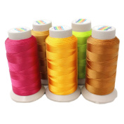 800 Yards Strong Mercerized Nylon Sewing Threads for Upholstery/Car Mat/Sofa/Tent/Purse 5 Packs
