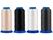 Selric [6000 Yards/4 Different Colours] UV resistant High Strength Polyester Thread #69 T70 Size 210D/3 for Upholstery, Outdoor Market, Drapery, Beading, Purses, Leather [Beige+Black+Dark Grey+White]