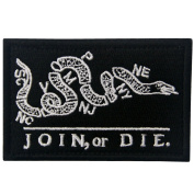 Join Or Die Tactical Embroidered Morale Applique Fastener Hook & Loop Patch - Black