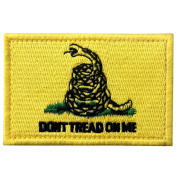 Don't Tread On Me Tactical Embroidered Morale Applique Fastener Hook & Loop Patch - Yellow