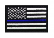 Police law enforcement Thin Blue Line Usa Flag Patch (3.0 X 2.0) blk/wht