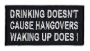 Motorcycle Jacket Embroidered Patch - Waking Up Causes Hangovers - Vest, Cut, Leathers - Funny - 10cm x 5.1cm