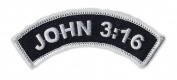 Motorcycle Jacket Embroidered Patch - John 3:16 Bible Verse (Arch) - Vest, Cut, Leathers - 10cm x 2.5cm