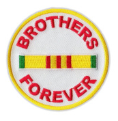 Motorcycle Jacket Embroidered Patch - Brothers Forever Vietnam Ribbon - Vest, Cut, Leathers - 7.6cm Round