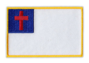 Motorcycle Jacket Embroidered Patch - Christian Flag - Vest, Cut, Leathers - 7.6cm x 5.1cm