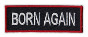 Motorcycle Jacket Embroidered Patch - Born Again, Religion, Jesus (Red) - Vest, Cut, Leathers - 7.6cm x 2.5cm