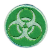 Motorcycle Jacket Embroidered Patch - Zombie Symbol (Green) - Vest, Cut, Leathers - 7.6cm Round