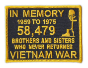 Motorcycle Jacket Embroidered Patch - Vietnam Memorial Patch (Black, Yellow) - Vest, Cut, Leathers - 10cm x 7.6cm