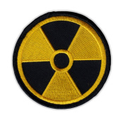 Motorcycle Jacket Embroidered Patch - Radioactive Nuclear Symbol (Yellow, Black) - Vest, Cut, Leathers - 7.6cm Round