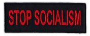 Motorcycle Jacket Embroidered Patch - Stop Socialism - Vest, Cut, Leathers - 10cm x 3.8cm