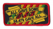 Motorcycle Jacket Embroidered Patch - All Gave Some, Some Gave All, Vietnam Ribbon - Vest, Cut, Leathers - 10cm x 5.1cm
