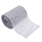 Jocestyle 5 Yard 24 Rolls Artificial Silver Bling Diamond Rhinestone Mesh Ribbon Wrap for Wedding Centrepieces Party Events Home Decoration