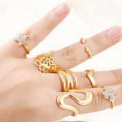 7pcs Mixed Design Gems Crystal Stone Rings Gold Plated Flower Ring