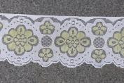 Vintage Antique DIY Net Rachel Lace Ribbon Floral Pattern Trimming Bridal Wedding Prom Dress Scalloped Edge 58mm Wide M6664 (Ivory & Lemon Yellow
