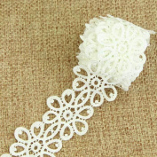 De.De.3 Yard/2.73m Vintage Embroidery Flower Lace Trim Wedding Dress Fabric Costume Trimming Sew DIY Craft Off-white