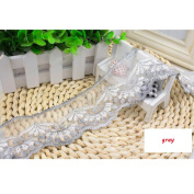 15 Yard Grey Floral Lace Ribbon Roll Scallop Edge Embroidered Mesh Lace Trim DIY Craft 6.1cm W