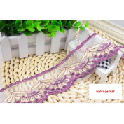 15 Yard Violaceous Floral Lace Ribbon Roll Scallop Edge Embroidered Mesh Lace Trim DIY Craft 6.1cm W