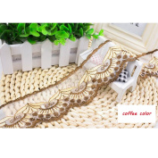 15 Yard Coffee colour Floral Lace Ribbon Roll Scallop Edge Embroidered Mesh Lace Trim DIY Craft 6.1cm W