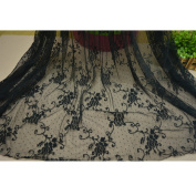 150cm Width Black Hollow Embroidery Flower Embroidered Tulle Lace Trim Wave Point Pattern
